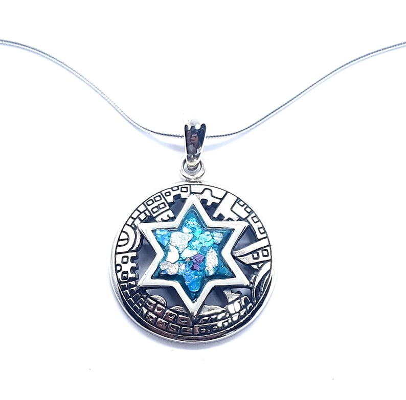 Sterling Silver Round City of Jerusalem Pendant with Roman Glass Star Of David