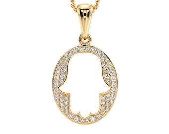 14k Solid Gold Hamsa Pendant set with Diamonds