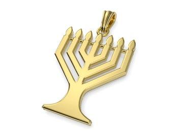 14K Gold Solid Jewish Pendant,Gold Menorah Pendant,Jerusalem Pendant,Large Menorha Pendant