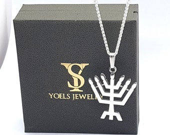 925 Silver Jewish Pendant,Silver Menorah Pendant,Jerusalem Pendant,Holy Land Jewelry