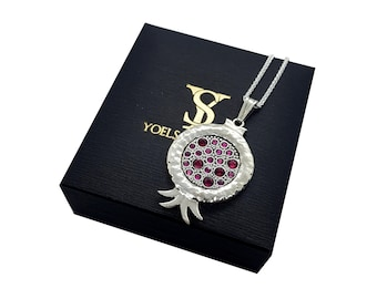 925 Silver Pomegranate Pendant Necklace set With Garnets& Rubi Stones ,Hammered Texture Jewish Pendant
