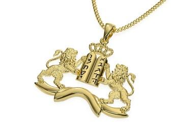 14K Gold Lion of Judah Man Pendant,Lion Necklace ,Gold Lion Pendant