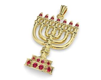 14K Gold Solid Jewish Pendant Menorah Pendant Jerusalem Pendant Large  Gold Menorha Pendant Set With Rubi Stones