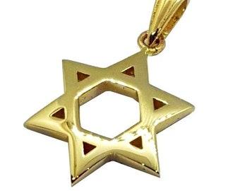 Domed 14K Gold Star of David Pendant, Jewish Star Pendant Jewish Jewelry