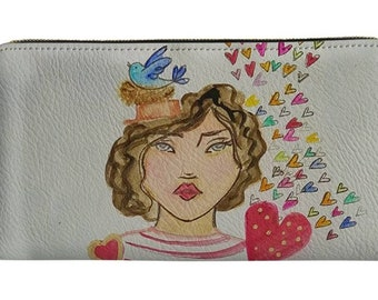 Hello Friend Little French Girl 8x4 Wallet Clutch with zipper closure, inside attached zippered change purse, cash, check slots, card slots.