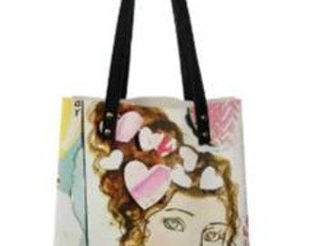 Happy Valentine's Day Girl Shoulder Bag, medium tote bag, Handbag, shopping bag, Book  Bag