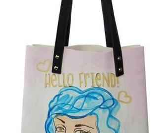 Hello Friend Girl with Blue Hair Shoulder Bag, medium tote bag, Handbag, shopping bag, Book  Bag