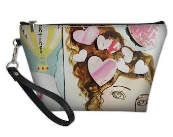Happy Valentine's Day Girl Wristlet, 8.5x5.5 with zipper closure and detachable strap. Handbag,Clutch,Makeup bag, Toiletry Bag