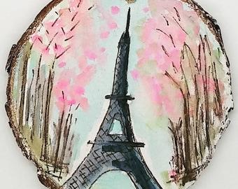 je t'adore Eiffel Tower Original Mixed Media Wood Slice Painting Ornament
