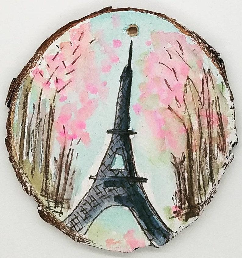 je t'adore Eiffel Tower Original Mixed Media Wood Slice image 1