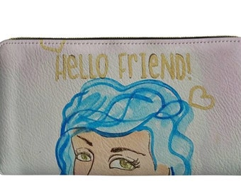 Hello Friend Girl with Blue Hair 8x4 Wallet Clutch with zipper closure, inside zippered change purse, cash, check slots card slots.