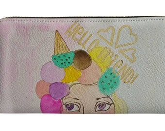 Hello Friend Icecream Girl 8x4 Wallet Clutch with zipper closure, inside attached zippered change purse, cash, check slots and card slots.