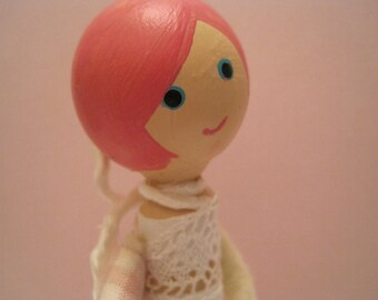 READY TO SHIP Cake Topper Clothespin Doll, Morgan, Miniature Doll, Doll