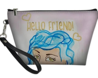 Hello Friend Girl with Blue Hair Wristlet, 8.5x5.5 with zipper closure and detachable strap. Handbag,Clutch,Makeup bag, Toiletry Bag