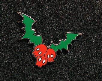 Holly and Ivy Skull and Bats Gothic Christmas Halloween Enamel Pin