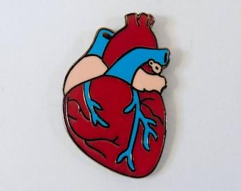 Human Anatomical Heart Enamel Pin Ready to ship