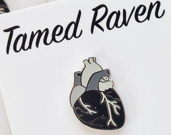 Monochrome Anatomical Heart Enamel Pin Ready to ship
