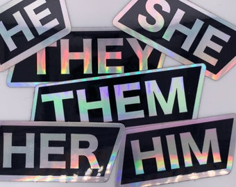 Holographic Pronoun Stickers She Her He Him They Them Mix and Match