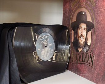 Willie Nelson / Waylon Jennings Record Purse made from vintage vinyl records