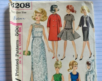 1965 Simplicity 6208 Barbie Clothes Pattern