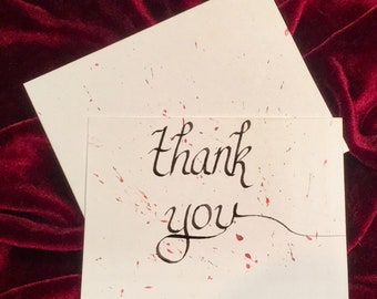 Blood Spatter Thank You cards