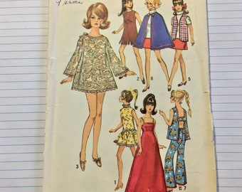1969 Simplicity 8466 Barbie Wardrobe Sewing Pattern