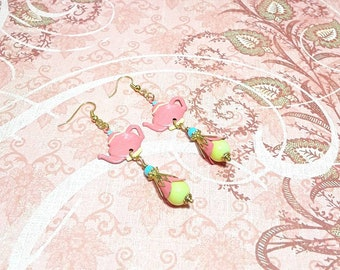 Tea pot earrings, bell flower earrings, peach, yellow, and blue