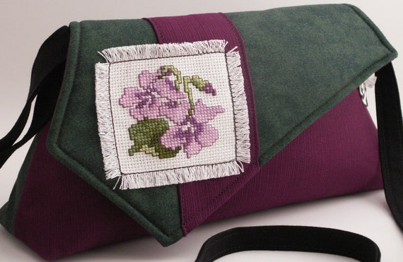 Handmade, hand embroidered shoulder bag, cotton purse. Purple, lavender, green, white. Spring Violets Artisan Bag by Lella Rae