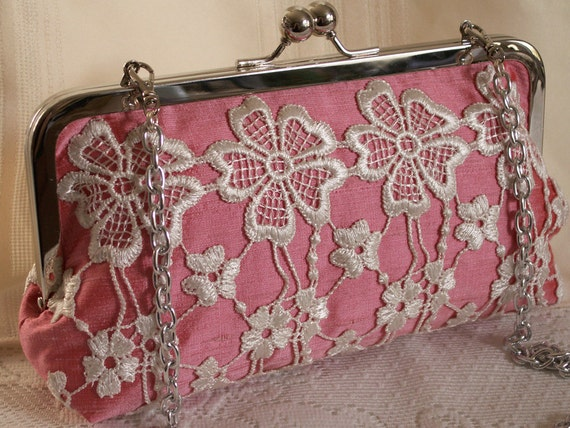 Hand made lace embellished silk handbag, clutch. White, pink. BLUSH by Lella Rae