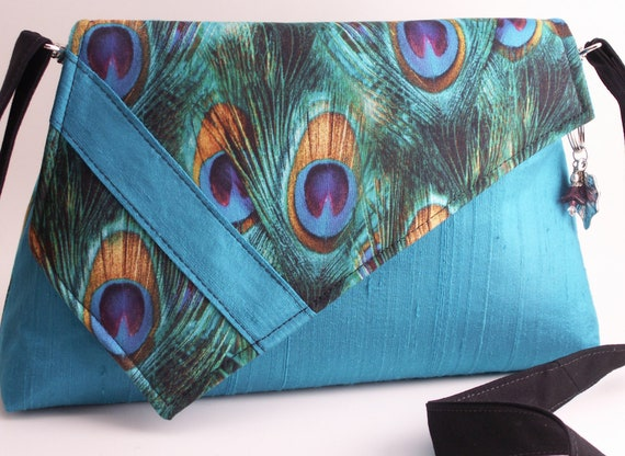 Handmade cotton, silk shoulder bag handbag. Turquoise, green, purple, blue, gold. Turquoise Peacock Artisan Bag by Lella Rae on Etsy