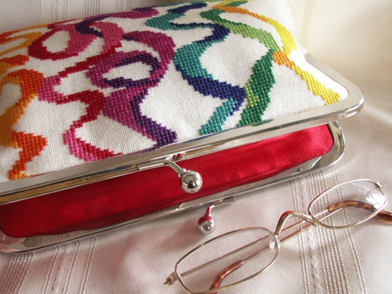 Handmade, hand embroidered evening clutch handbag. Rainbow colors. GALA by Lella Rae
