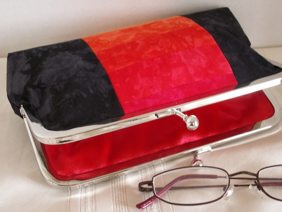 Handmade, hand dyed, patchwork clutch handbag. Black, red, orange.gold. FIRESIDE by Lella Rae