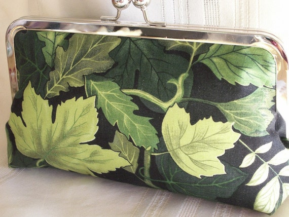 Handmade cotton clutch Shades of green. FOREST SONATA by Lella Rae
