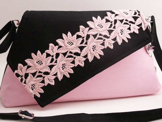 Handmade silk, cotton, lace shoulder bag. Black, pink. Spring Fair Artisan Bag by Lella Rae