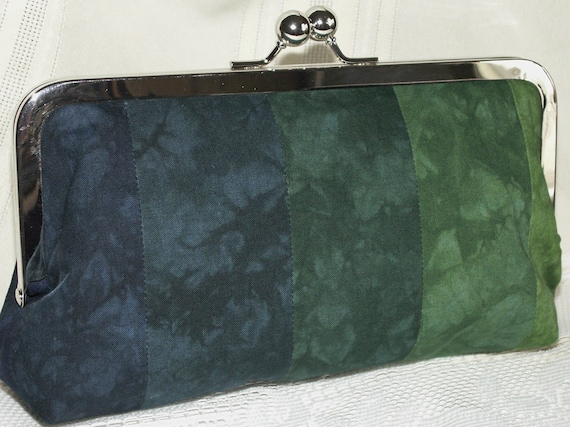 Handmade hand dyed, patchwork clutch handbag. Green, teal, blue. ELISE by Lella Rae