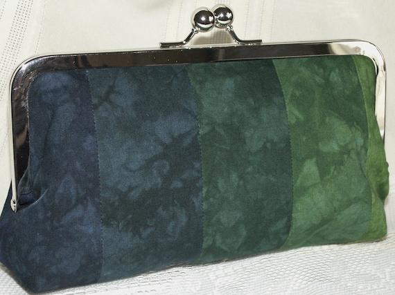 Handmade hand dyed, patchwork clutch handbag. Green, teal, blue. ELISE by Lella Rae on Etsy
