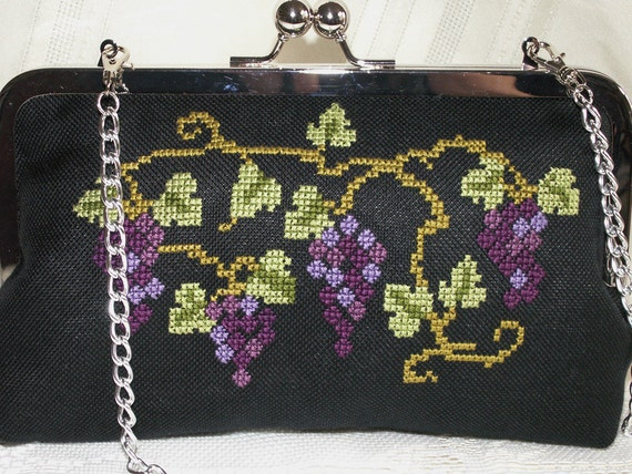 Handmade, hand embroidered cotton clutch handbag. Purple, blue, green, black. GRAPE ARBOR by Lella Rae