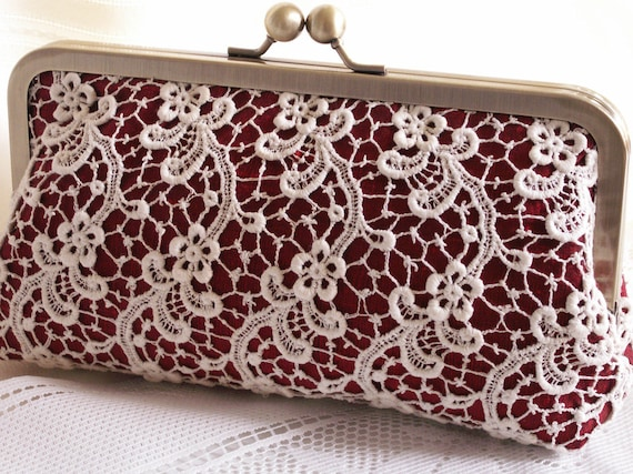 Handmade silk, lace clutch handbag. Cream, red. DUCHESS by Lella Rae