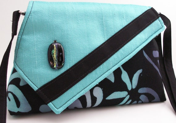 Handmade silk, rayon shoulder bag, handbag. Aqua, black, green. Bahama Morning Artisan Bag by Lella Rae on Etsy