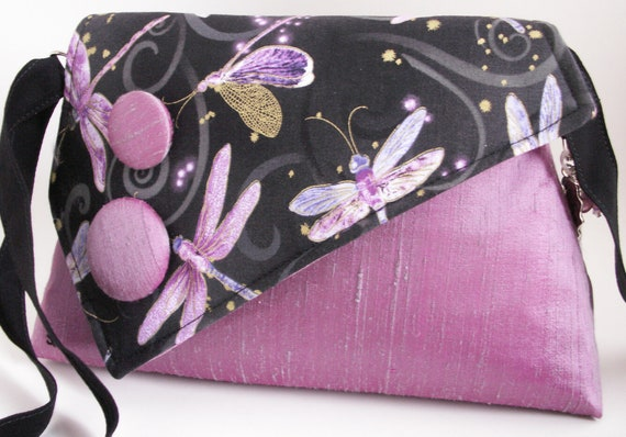 Handmade silk, cotton shoulder bag handbag. Lilac, black, gold, blue, purple. Dragonfly Dance Artisan Bag by Lella Rae on Etsy
