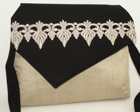 Handmade silk, cotton shoulder bag, handbag. Sage green, black. Sage and Lace iBag by Lella Rae on Etsy