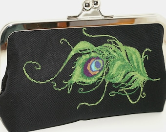 Hand embroidered cotton clutch, shoulderbag. Green, blue, purple, black, turquoise. Peacock Fantasy by Lella Rae on Etsy