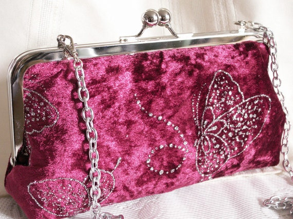 Handmade velvet, glitter clutch handbag. Red, magenta, silver butterflies. GLITTERING BUTTERFLIES by Lella Rae