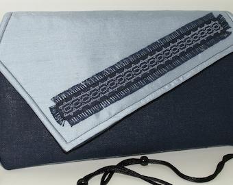 Handmade, hand embroidered cotton, silk, clutch, handbag. Navy, pale blue. Midnight Stars Lella's Bag by Lella Rae on Etsy