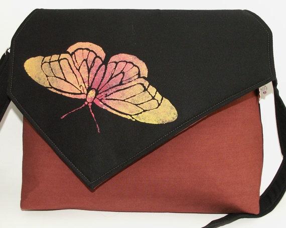 Handmade cotton shoulder bag, handbag. Hand painted butterfly. Black, orange, gold. Summer Butterfly iBag by Lella Rae on Etsy