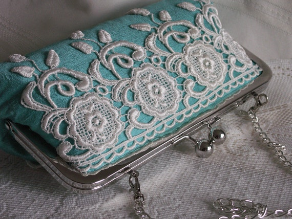 Handmade silk, lace clutch handbag. Aqua, white, purple. YOUNG LOVE  by Lella Rae