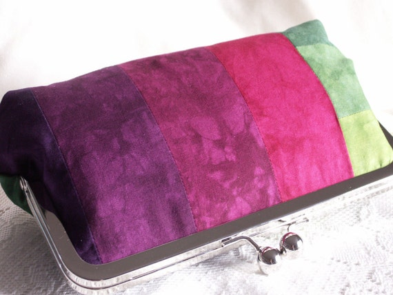 Handmade, hand dyed, cotton, patchwork clutch handbag. Pink, magenta, purple, blue, teal, green. CRAZY QUILT by Lella Rae