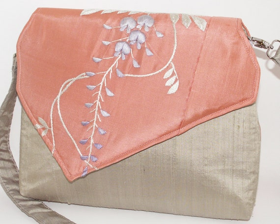 Handmade embroidered silk antique kimono shoulder bag, handbag. Peach, sage, green. Wisteria iBag by Lella Rae on Etsy