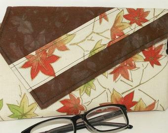 Handmade cotton clutch, shoulder bag. Brown, orange, green, gold, cream. Momiji Lella's Bag by Lella Rae on Etsy