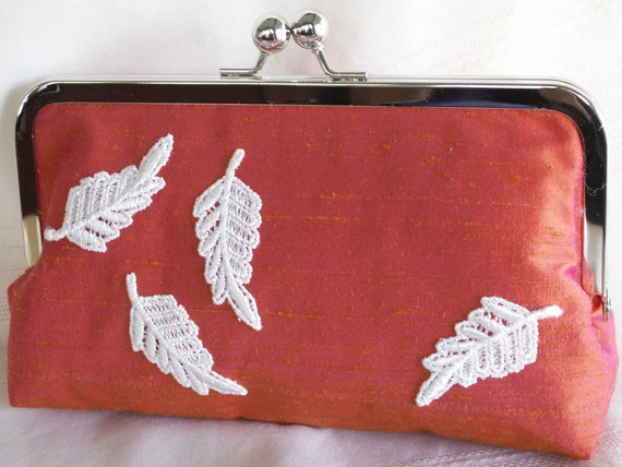Handmade silk clutch handbag. Orange, pink, white. Venice lace leaves. AUTUMN LEAVES by Lella Rae